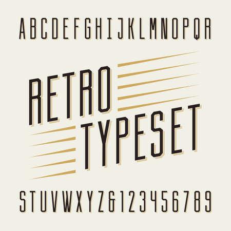 Retro gezet. Letters en cijfers. Vintage alfabet vector lettertype voor labels, titels, posters etc.
