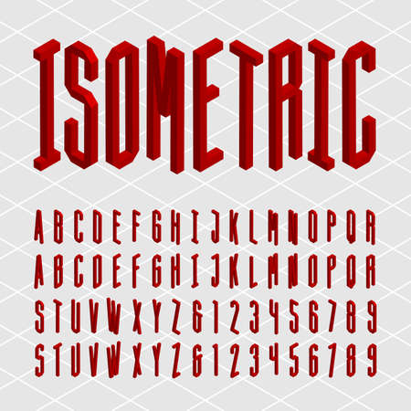 typeset: 3D isometric alphabet font. Isometric letters and numbers. Decorative typeset.