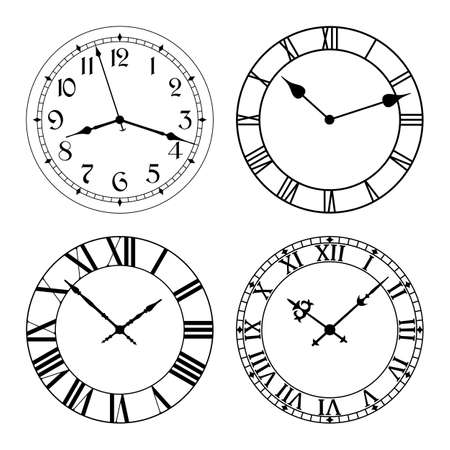 The set of different clock faces. Editable Clock, easily remove and replace hands and design.