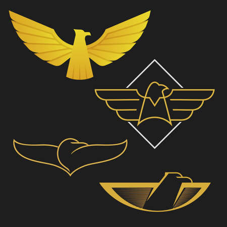 sea bird: The set of eagles logo icon design. Abstract golden eagles on the dark background.