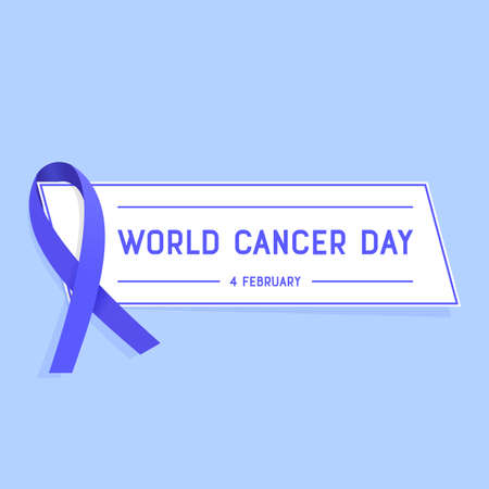 cancer awareness ribbon: Vector illustration of World Cancer Day. Cancer awareness ribbon with text message on the bright background.
