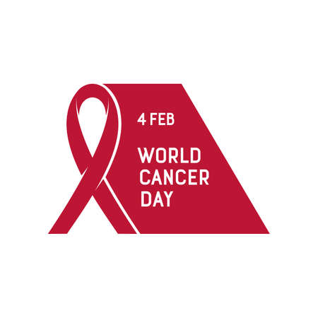 awareness ribbon: Vector illustration of World Cancer Day. Cancer awareness ribbon with text message isolated on the white background.