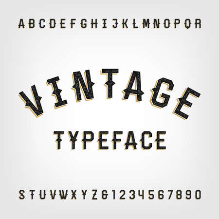 design element: Western style retro distressed alphabet font. Letters and numbers. Vintage typography for labels, headlines, posters etc. Illustration