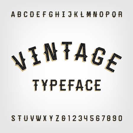Westerse stijl retro verontruste alfabet lettertype. Letters en cijfers. Vintage typografie voor etiketten, koppen, posters etc.