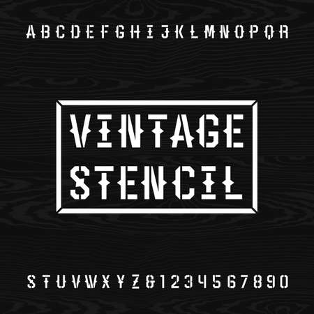 headlines: Western style retro stencil alphabet vector font. Letters and numbers on a wooden background. Vintage vector typography for labels, headlines, posters etc.