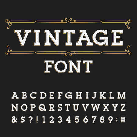 customized: Distressed alphabet vector font. Letters, numbers and symbols. Vintage vector typeface for labels, headlines, posters etc.