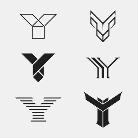 one color: The set of letter Y sign,  icon design template elements. One color.  Illustration