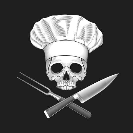 crossed: The skull in toque and crossed knife and fork. illustration.