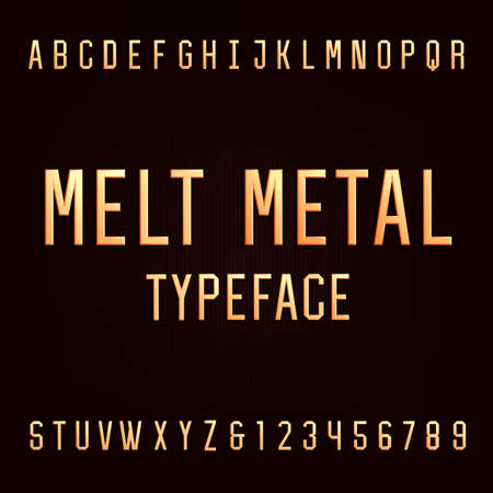 typeset: Melt metal alphabet vector font. 3D effect type letters and numbers. Vector typeset for headlines, posters etc. Illustration