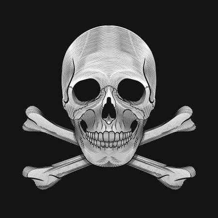vector skull danger sign: Danger sign. Skull and crossbones on black background in engraving style. Vector Illustration.