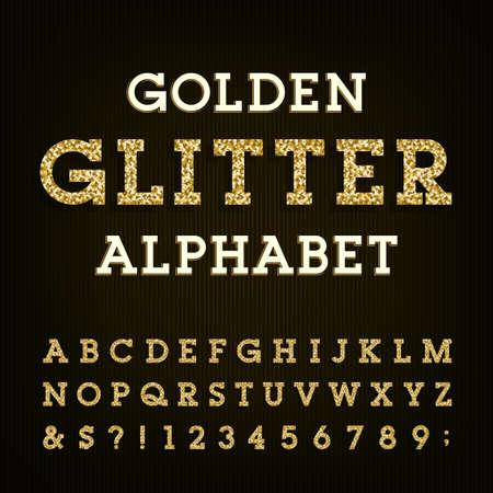 Gouden schitter alfabet vector lettertype. Letters, cijfers en symbols.Vector typografie voor etiketten, koppen, posters etc. Vector Illustratie