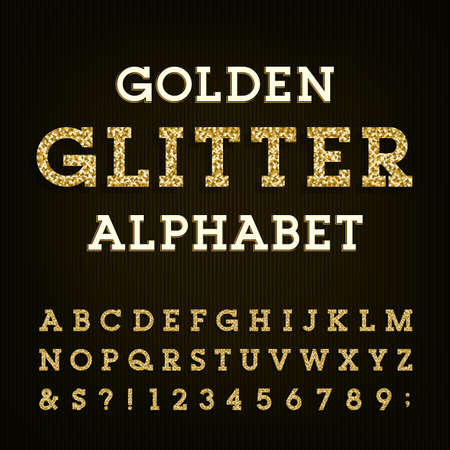 Golden glitter alphabet vector font. Letters, numbers and symbols.Vector typography for labels, headlines, posters etc. Vettoriali