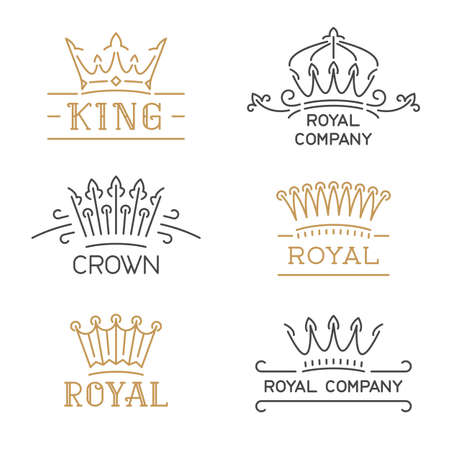 king and queen: Crown set. Luxury crown in trendy line style. Vector illustration for hotel, restaurant, boutique, invitation, jewellery, etc. Illustration