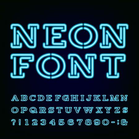 ネオンの光のアルファベットのフォントです。文字、数字、記号を入力します。暗い背景に青いネオン効果文字。ベクトル ラベル、タイトル、ポス