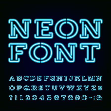 Neon Light Alphabet Font. Type letters, numbers and symbols. Blue neon effect letters on the dark background. Vector typography for labels, titles, posters etc.