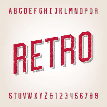 headlines: Retro style distressed alphabet vector font. Letters and numbers. Vintage vector typeface for labels, headlines, posters etc.