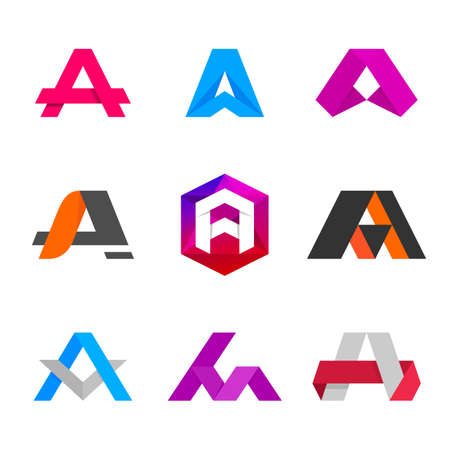 cg: Letter A logo icon design template elements. Different vector signs