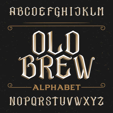 이전 알파벳 벡터 글꼴입니다. 고민 된 배경에 문자를 입력합니다. 라벨, 헤드 라인, 포스터 등 빈티지 벡터 서체