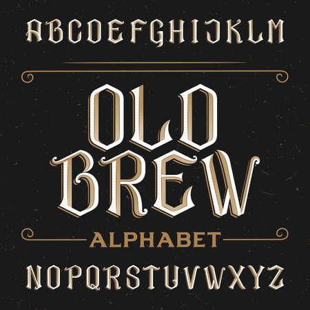 Oude alfabet vector lettertype. Typ letters op een verontruste achtergrond. Vintage vector lettertype voor etiketten, koppen, posters etc.