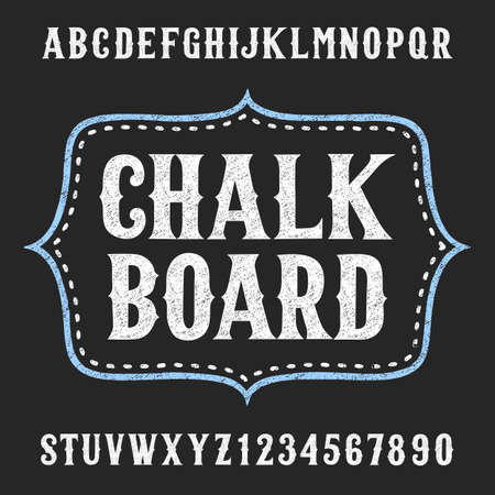 Chalkboard alphabet vector font. Hand drawn letters and numbers. Vector typeface for menu, labels, headlines, posters etc.