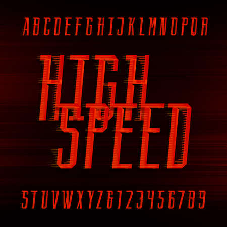 headlines: Speed alphabet vector font. Motion effect condensed letters and numbers on the abstract background. Vector typeface for headlines, posters etc.