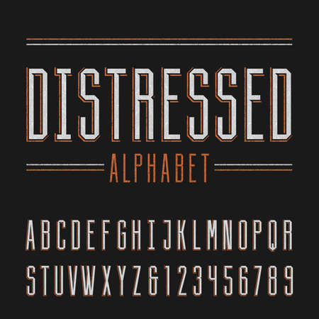 Distressed alphabet vector font. Vintage letters and numbers.