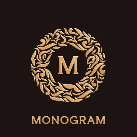 luxury template: Luxury monogram emblem template. Elegant vector frame ornament design. Illustration