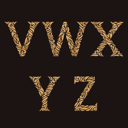 y ornament: Decorative Initial Letters V, W, X, Y, Z. Vector illustration of alphabet letters in caps. Ornate golden monograms.