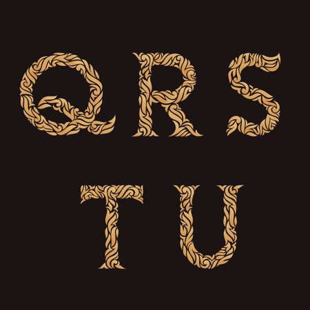 u s: Decorative Initial Letters Q, R, S, T, U. Vector illustration of alphabet letters in caps. Ornate golden monograms.