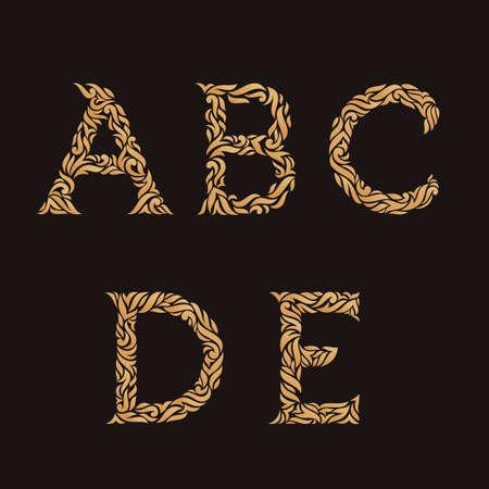 letter c: Decorative Initial Letters A, B, C, D, E. Vector illustration of alphabet letters in caps. Ornate golden monograms.
