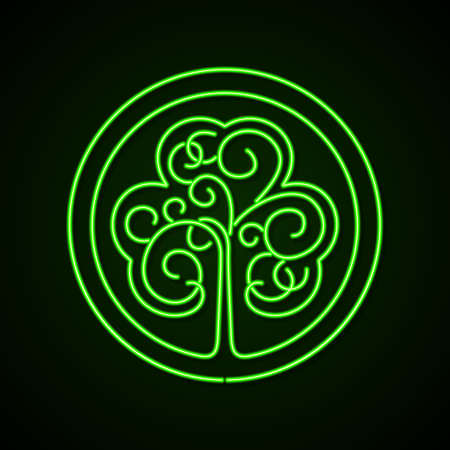paddys: St. Patricks day glowing neon sign. Stylized image of a shamrock on a dark green background.