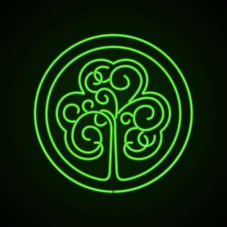 saint paddys: St. Patricks day glowing neon sign. Stylized image of a shamrock on a dark green background.