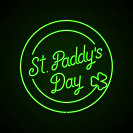 Glowing neon sign - St. Paddys Day lettering with shamrock on a dark green background.