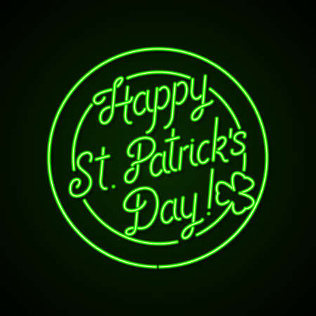 Glowing neon sign - Happy St. Patrick's Day lettering with shamrock on a dark green background.