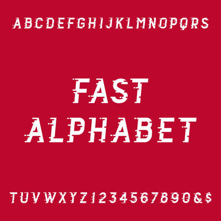 dynamic movement: Fast alphabet vector font. Motion effect simple letters and numbers. Vector typography for headlines, posters etc.