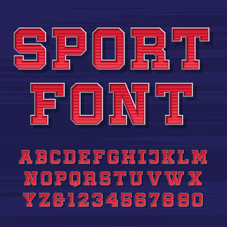 t shirt printing: Sport alphabet vector font. Retro style typeface for labels, titles, posters or sportswear. Type letters and numbers on the dark background.