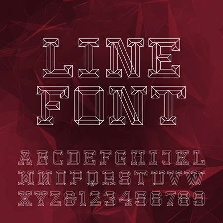 chiseled: Beveled Alphabet Vector Font. Outline style letters and numbers on the abstract geometrical background.