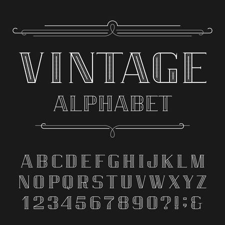 headlines: Vintage Alphabet Vector Font. Line type letters and numbers. Decorative typeface for labels, headlines, posters etc.