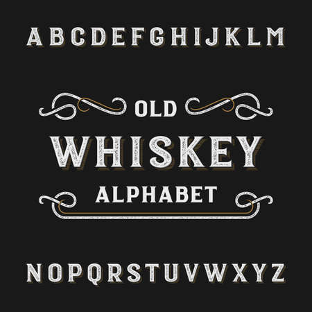 Old whiskey alphabet vector font. Distressed type letters. Vector typeface for labels, headlines, posters etc.