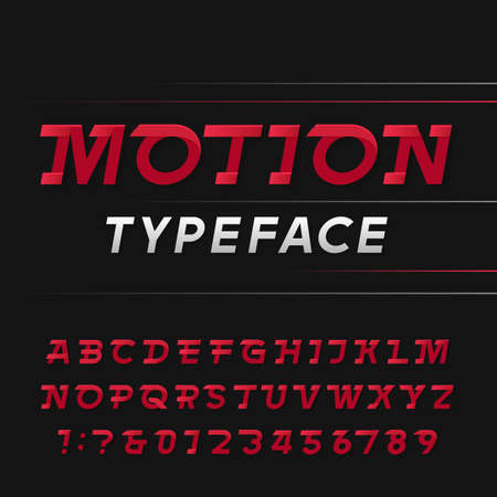 quickness: Motion alphabet vector font. Speed effect letters and numbers. Vector typography for logos, headlines, posters etc.