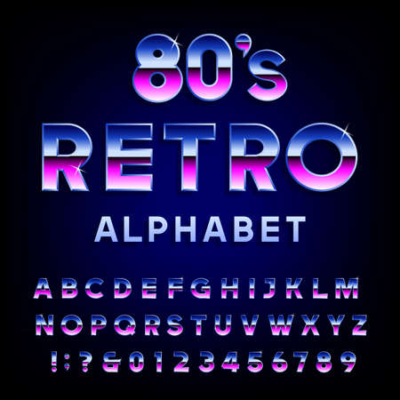80's retro alphabet vector font. Metallic effect shiny letters and numbers. Vector typography for flyers, headlines, posters etc. Illustration