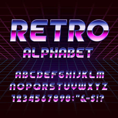 80s retro alphabet vector font. Metallic effect letters and numbers on the 80s style background. Vector typography for flyers, headlines, posters etc.