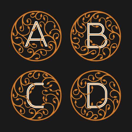letter alphabet: Decorative Initial Letters A, B, C, D. Luxury ornate monogram emblems.