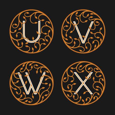 letter w: Decorative Initial Letters U, V, W, X. Luxury ornate monogram emblems. Vector illustration.