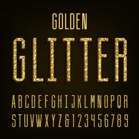 headlines: Golden glitter alphabet vector font. Letters and numbers.Vector typeface for labels, headlines, posters etc. Illustration