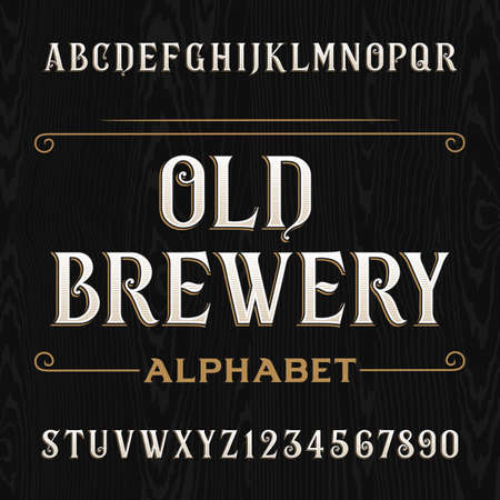 Alte Brauerei Alphabet-Vektor-Schriftart. Geben Sie Buchstaben und Zahlen auf dem dunklen hölzernen Hintergrund. Vintage-Vektor-Typografie für Etiketten, Schlagzeilen, Plakate etc. Vektorgrafik