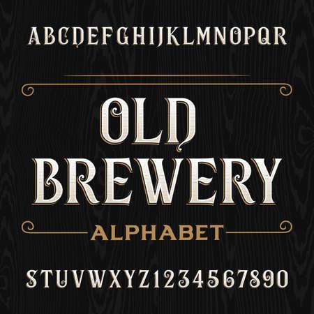 Old Brewery alphabet vecteur police. Tapez les lettres et les chiffres sur le fond en bois sombre. Vintage typographie vecteur pour les étiquettes, titres, affiches, etc. Vecteurs