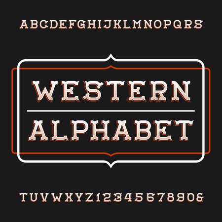 typeset: Western alphabet vector font. Vintage type letters and numbers. Vector typeset for labels, headlines, posters etc.