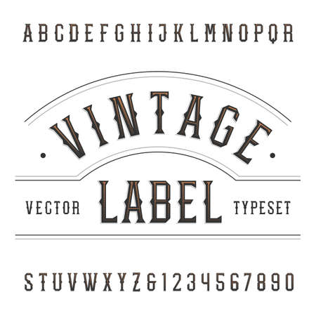 Vintage alphabet font. Type letters and numbers in western style. typography for labels, headlines, posters etc.  イラスト・ベクター素材