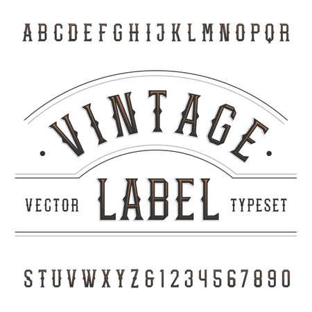 Jahrgang Alphabet Schriftart. Geben Sie Buchstaben und Zahlen in westlichen Stil. Typographie für Etiketten, Schlagzeilen, Plakate etc.